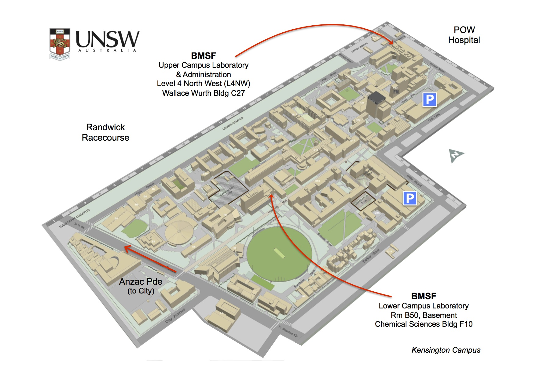 map of unsw campus Bmsf Location Map Unsw Mark Wainwright Analytical Centre map of unsw campus