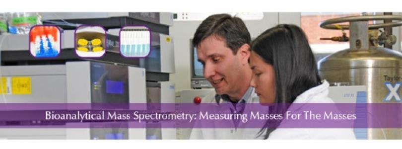 "Image of BMSF Director, A/Prof. Mark Raftery, and a student working on an LC/MS with the text ""Bioanalytical Mass Spectrometry: Measuring Masses For The Masses."""